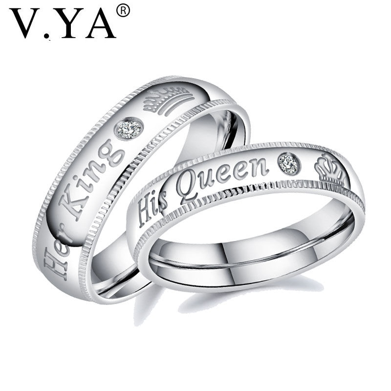 1a0e66c233 V.YA Fashion DIY Custom Engrave Couple Jewelry Rings Her King and His Queen Stainless  Steel Wedding Rings for Women Men Jewelry